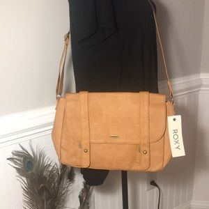 ROXY Vegan Leather Camel Crossbody Purse